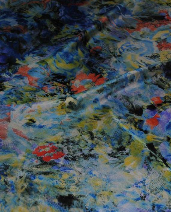 """Ткань Шелк Шифон """"Цветочная поляна"""" 0058 цвет разноцветный цветочный картинка 1"""