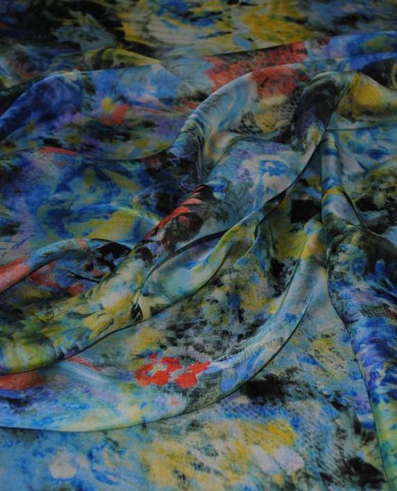 """Ткань Шелк Шифон """"Цветочная поляна"""" 0058 цвет разноцветный цветочный картинка 2"""