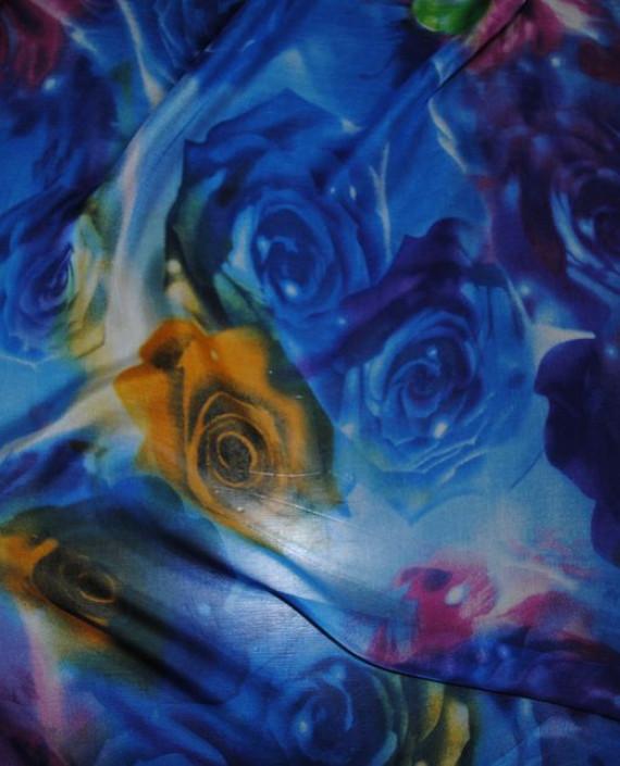 """Ткань Шелк Шифон """"Голубые розы"""" картинка"""