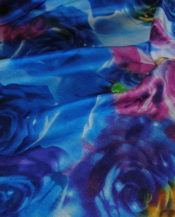 """Ткань Шелк Шифон """"Голубые розы"""" картинка 1"""