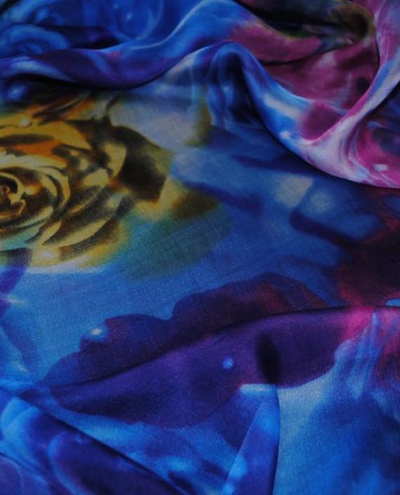 """Ткань Шелк Шифон """"Голубые розы"""" картинка 2"""