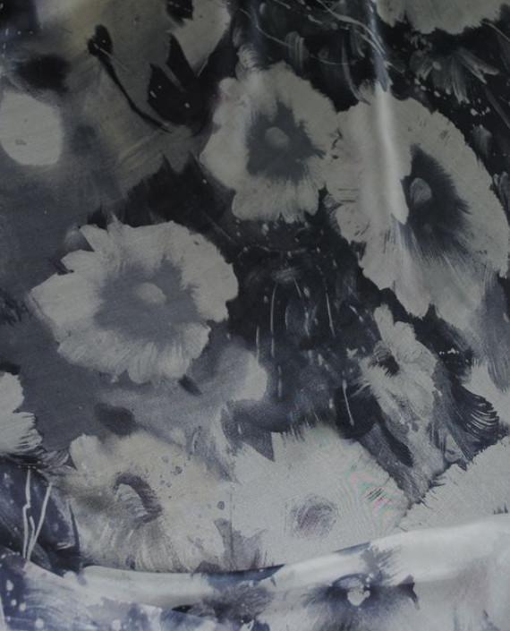 """Ткань Шелк Шифон """"Серые цветы"""" 0063 цвет серый цветочный картинка"""