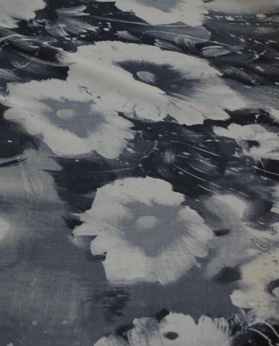 """Ткань Шелк Шифон """"Серые цветы"""" 0063 цвет серый цветочный картинка 2"""