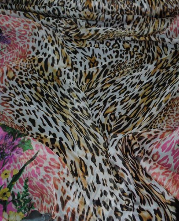 "Ткань Шелк Шифон ""Тигровые мотивы на розовом"" картинка"