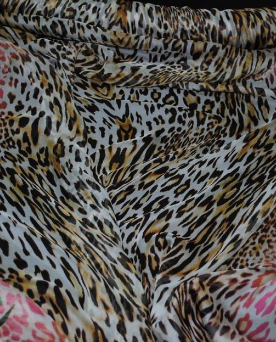 "Ткань Шелк Шифон ""Тигровые мотивы на розовом"" картинка 1"