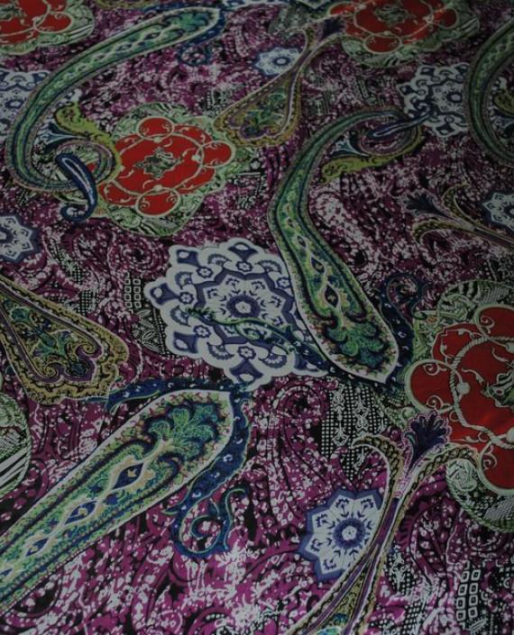 """Ткань Шелк Шифон """"Набивные огурцы"""" 0065 цвет разноцветный абстрактный картинка"""