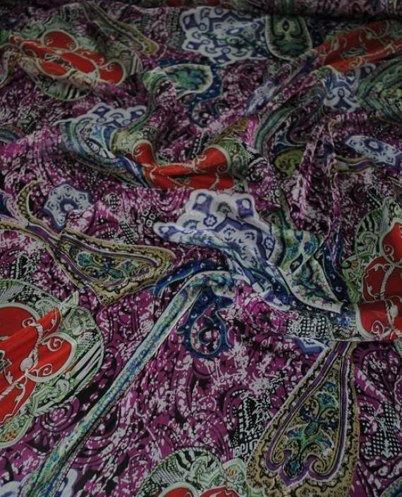 """Ткань Шелк Шифон """"Набивные огурцы"""" 0065 цвет разноцветный абстрактный картинка 1"""
