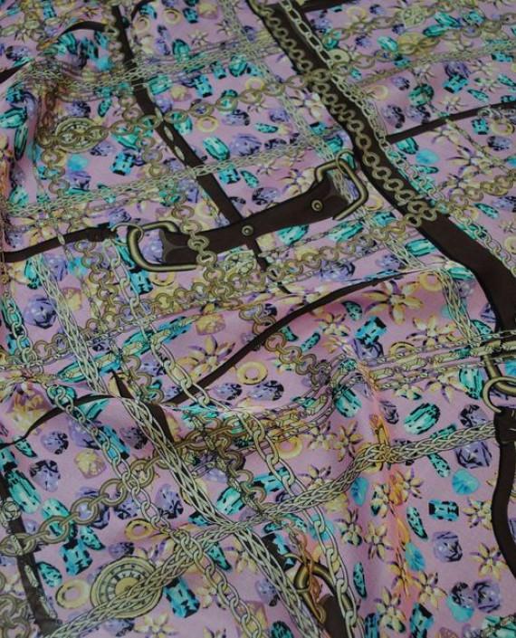 """Ткань Шелк Шифон """"Ремни и цепи"""" 0067 цвет разноцветный абстрактный картинка"""