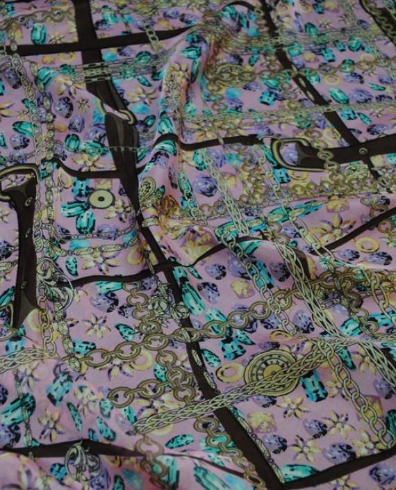 """Ткань Шелк Шифон """"Ремни и цепи"""" 0067 цвет разноцветный абстрактный картинка 2"""