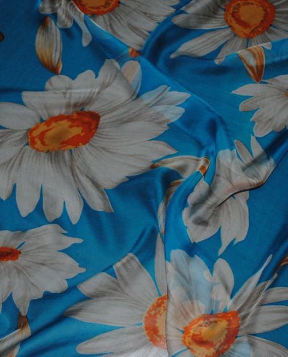 """Ткань Шелк Шифон """"Ромашки"""" 0068 цвет голубой цветочный картинка"""