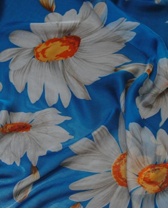 """Ткань Шелк Шифон """"Ромашки"""" 0068 цвет голубой цветочный картинка 2"""