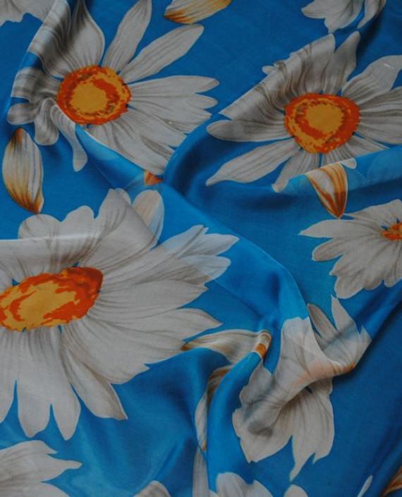 """Ткань Шелк Шифон """"Ромашки"""" 0068 цвет голубой цветочный картинка 1"""