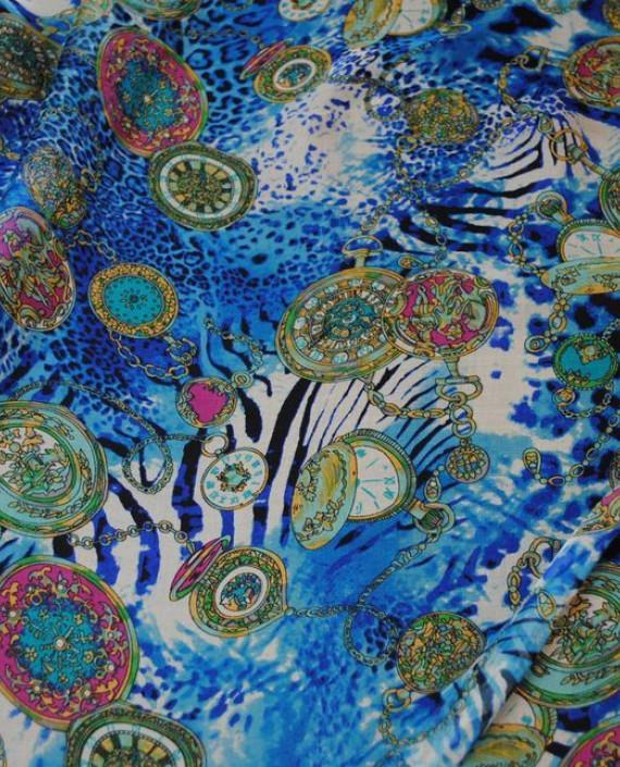 "Ткань Шелк Шифон ""Часы"" 0069 цвет разноцветный абстрактный картинка"