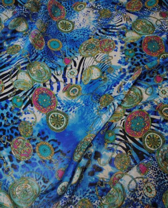 "Ткань Шелк Шифон ""Часы"" 0069 цвет разноцветный абстрактный картинка 1"