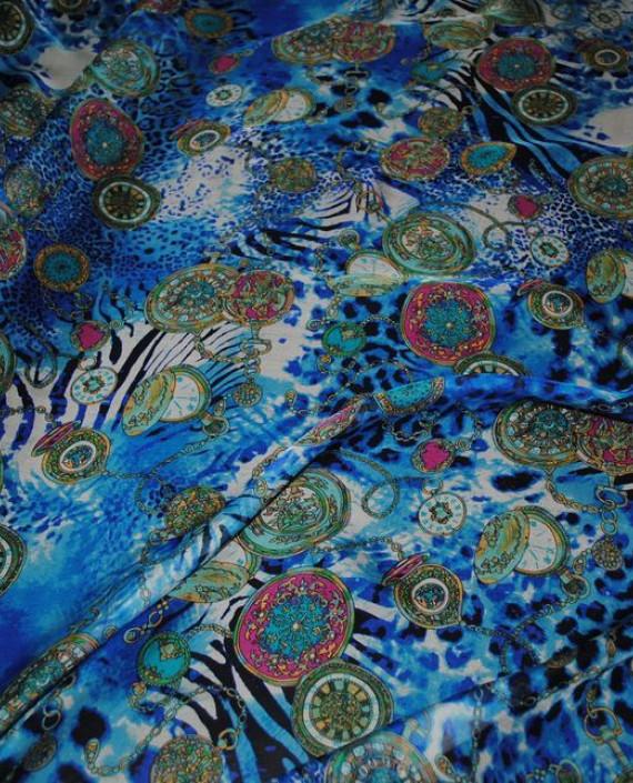 "Ткань Шелк Шифон ""Часы"" 0069 цвет разноцветный абстрактный картинка 2"