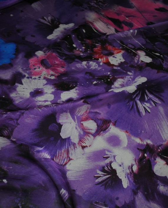 """Ткань Шелк Шифон """"Сиреневые цветы"""" 0070 цвет сиреневый цветочный картинка"""