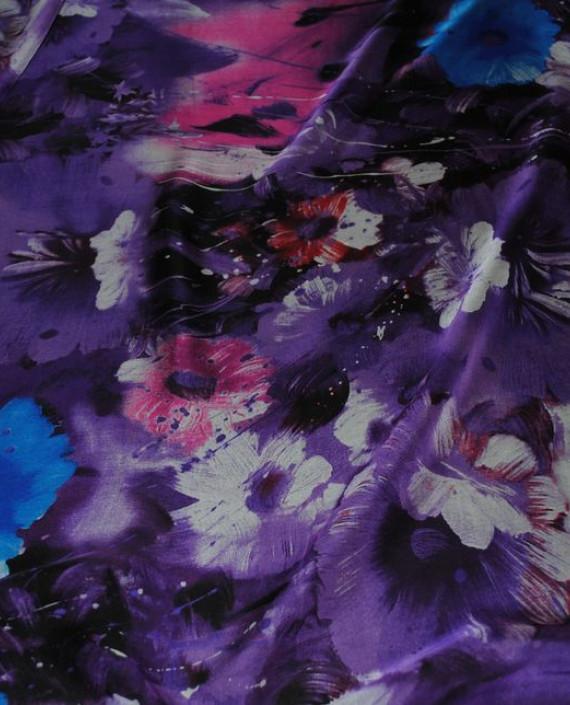 """Ткань Шелк Шифон """"Сиреневые цветы"""" 0070 цвет сиреневый цветочный картинка 1"""