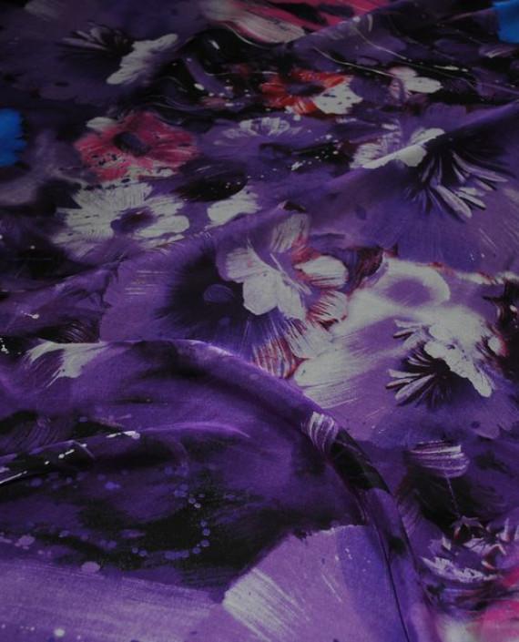 """Ткань Шелк Шифон """"Сиреневые цветы"""" 0070 цвет сиреневый цветочный картинка 2"""