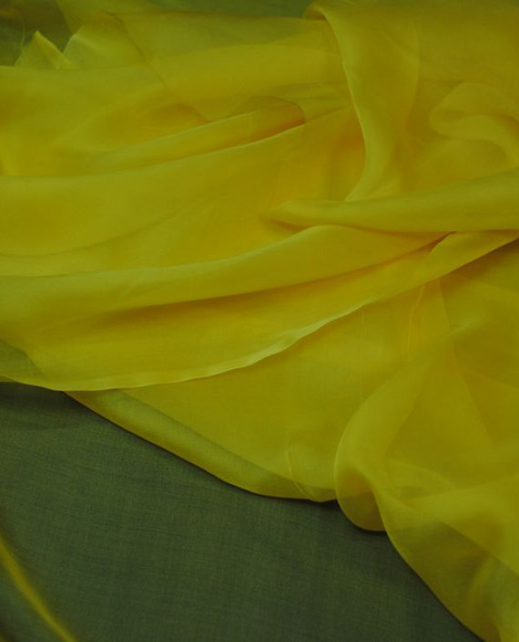 """Ткань Шелк Шифон """"Желтый"""" 0082 цвет желтый картинка 2"""
