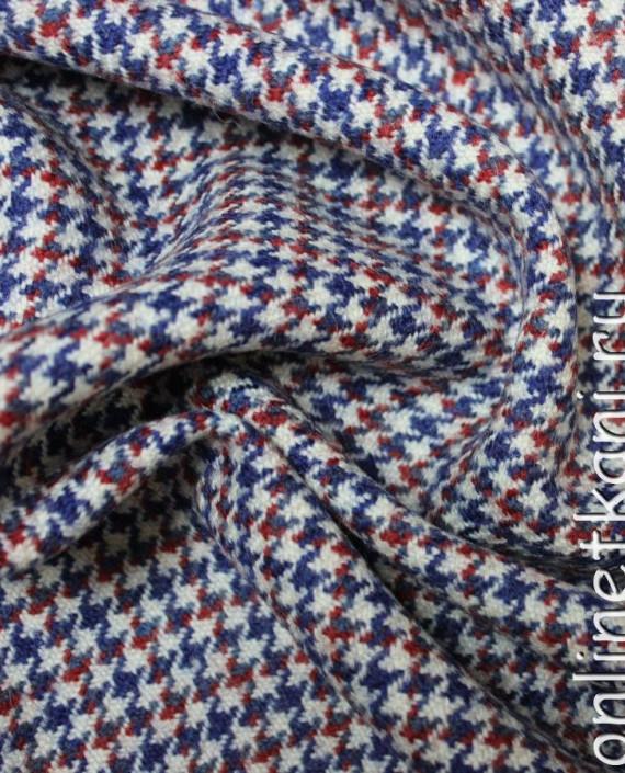 """Ткань Шерсть """"Сине-Красная Гусиная Лапка"""" 4008 цвет разноцветный гусиная лапка картинка"""