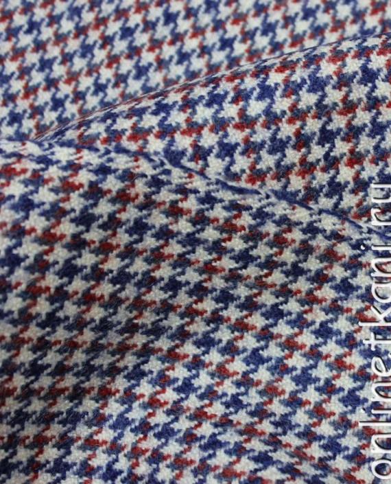 """Ткань Шерсть """"Сине-Красная Гусиная Лапка"""" 4008 цвет разноцветный гусиная лапка картинка 1"""