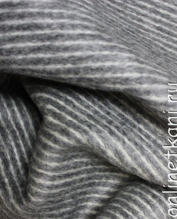 """Ткань шерсть пальтовая """"Dolce&Gabbana"""" 4004 цвет серый в полоску картинка 3"""