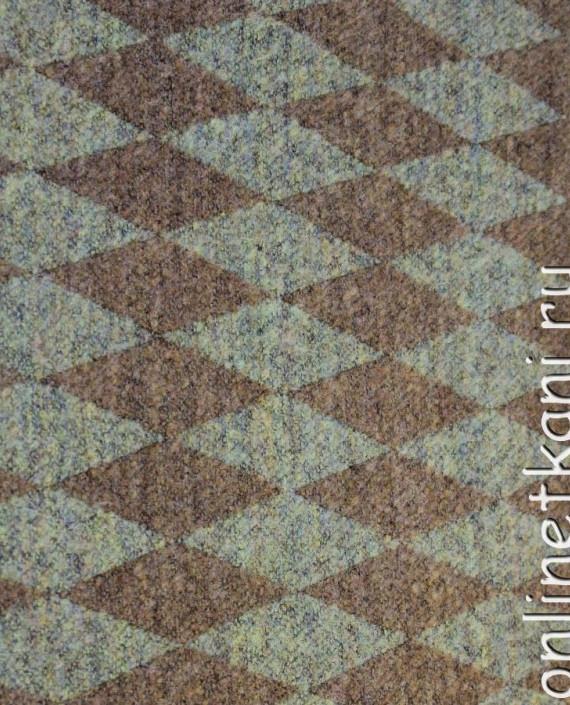 """Ткань шерсть """"Ромб"""" 4014 цвет коричневый геометрический картинка"""