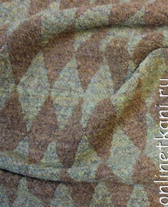"""Ткань шерсть """"Ромб"""" 4014 цвет коричневый геометрический картинка 1"""