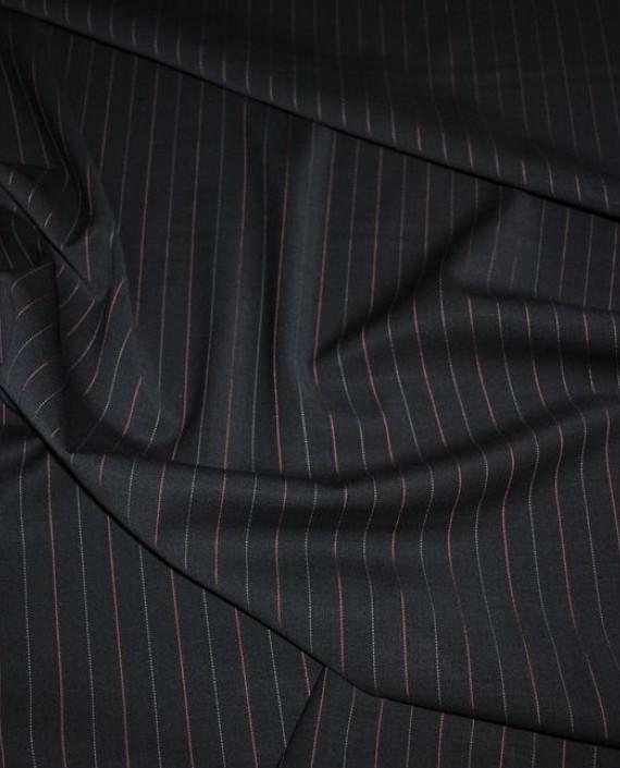 """Ткань Шерсть """"Безупречная классика"""" 0004 цвет черный в полоску картинка"""