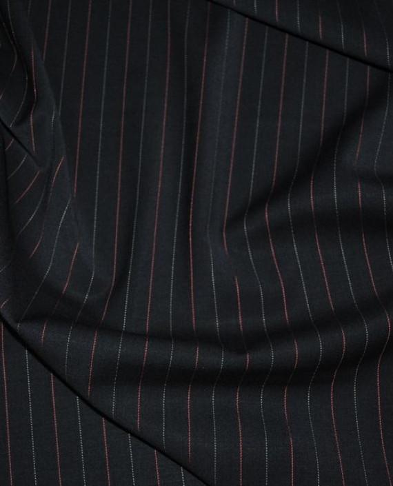 """Ткань Шерсть """"Безупречная классика"""" 0004 цвет черный в полоску картинка 1"""