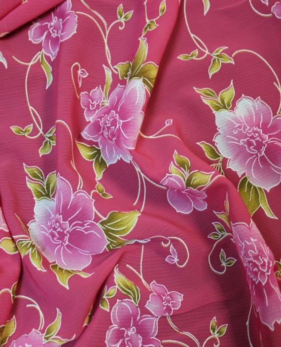 """Ткань Шифон розовый """"Цветы"""" картинка 2"""