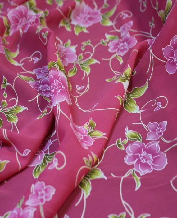 """Ткань Шифон розовый """"Цветы"""" картинка 1"""