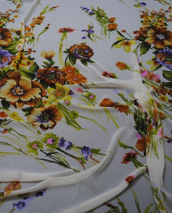 """Ткань Шифон """"Весенний букет"""" 0001 цвет белый цветочный картинка"""