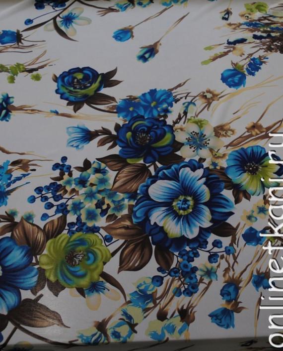 Ткань Шифон «Голубой букет» 0003 цвет белый цветочный картинка 1