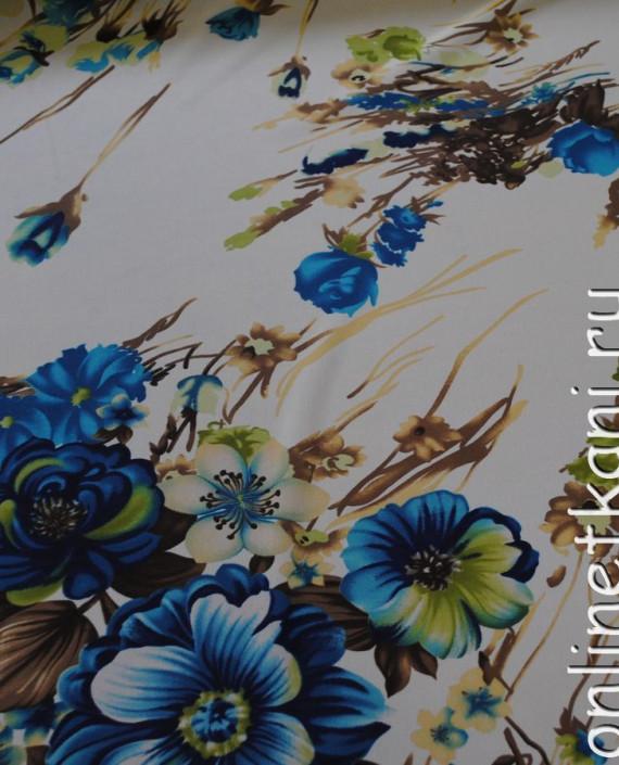 Ткань Шифон «Голубой букет» 0003 цвет белый цветочный картинка