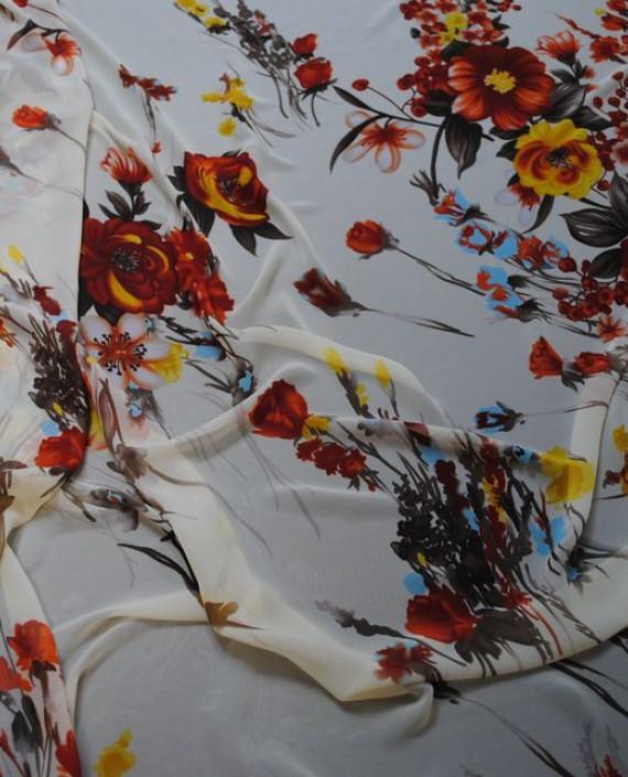 Ткань Шифон «Красные цветы» 0006 цвет белый цветочный картинка