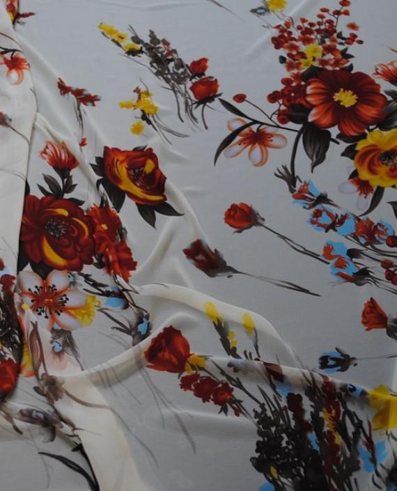 Ткань Шифон «Красные цветы» 0006 цвет белый цветочный картинка 2