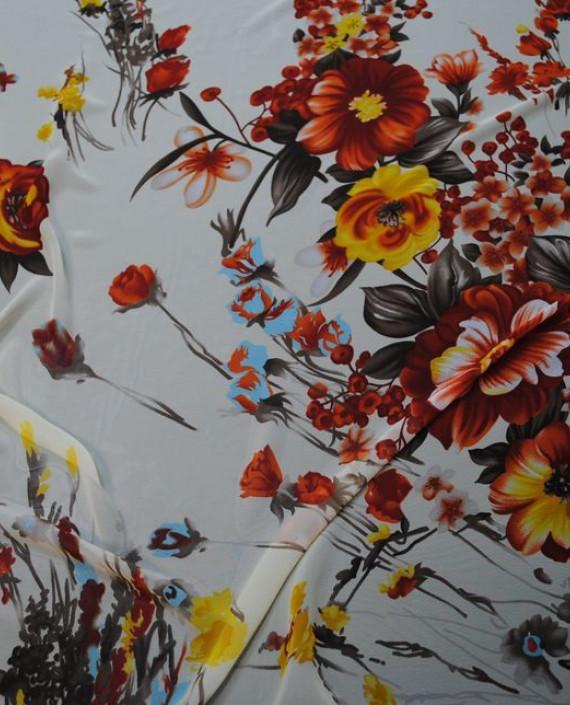 Ткань Шифон «Красные цветы» 0006 цвет белый цветочный картинка 1