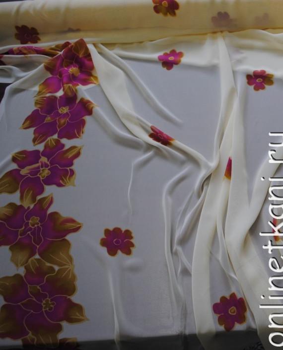 """Ткань Шифон """"Лиловые цветы"""" 0007 цвет белый цветочный картинка"""