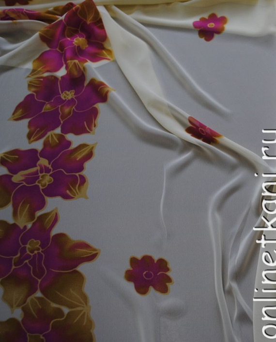 """Ткань Шифон """"Лиловые цветы"""" 0007 цвет белый цветочный картинка 1"""