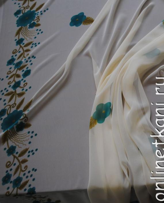 """Ткань Шифон """"Голубые цветы"""" 0008 цвет белый цветочный картинка 1"""