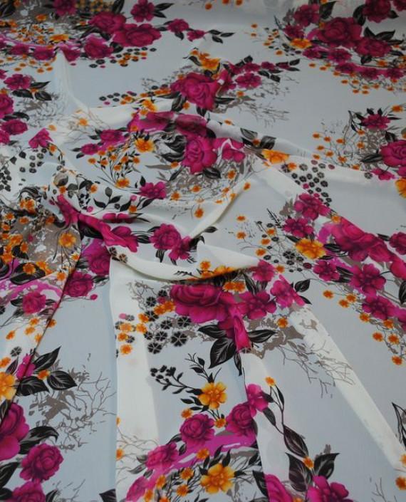 Ткань Шифон «Розовый букет» 0009 цвет белый цветочный картинка