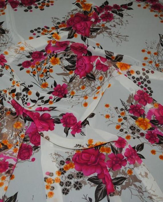 Ткань Шифон «Розовый букет» 0009 цвет белый цветочный картинка 1