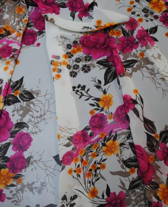 Ткань Шифон «Розовый букет» 0009 цвет белый цветочный картинка 2