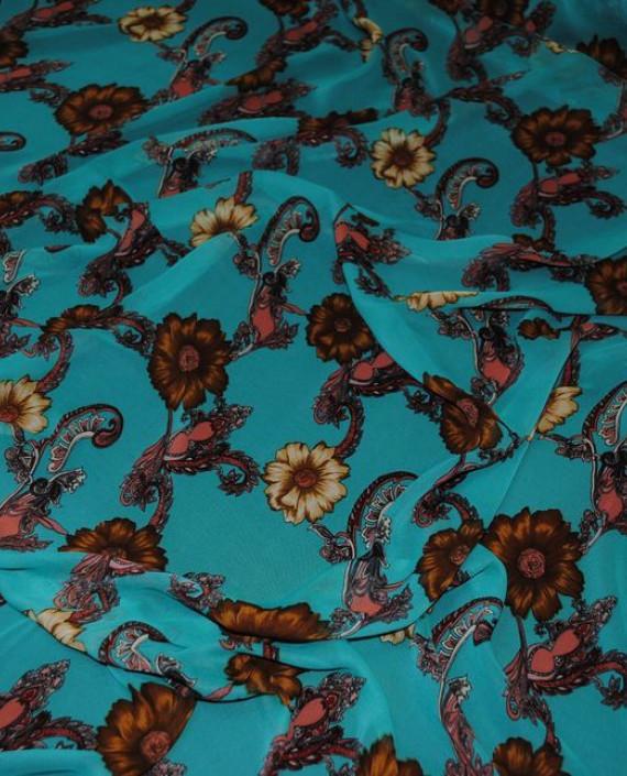 """Ткань Шифон """"Цветочный арнамент"""" 0010 цвет бирюзовый абстрактный картинка 2"""