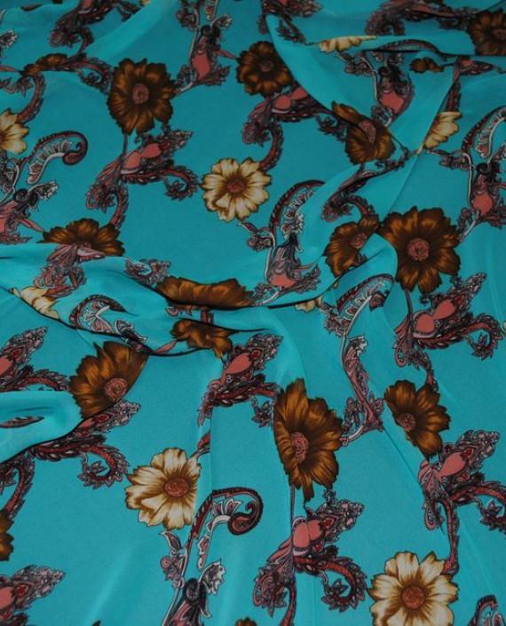 """Ткань Шифон """"Цветочный арнамент"""" 0010 цвет бирюзовый абстрактный картинка 1"""