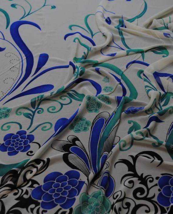 """Ткань Шифон """"Ростки"""" купон 0011 цвет белый цветочный картинка"""