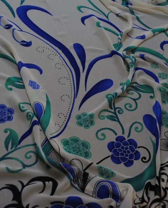 """Ткань Шифон """"Ростки"""" купон 0011 цвет белый цветочный картинка 2"""