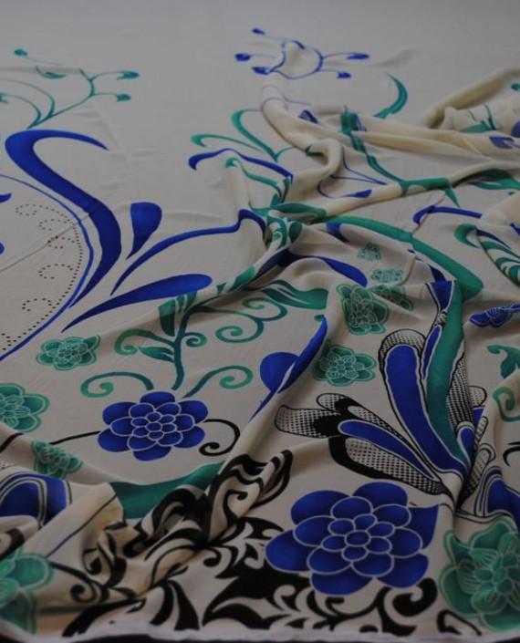 """Ткань Шифон """"Ростки"""" купон 0011 цвет белый цветочный картинка 1"""
