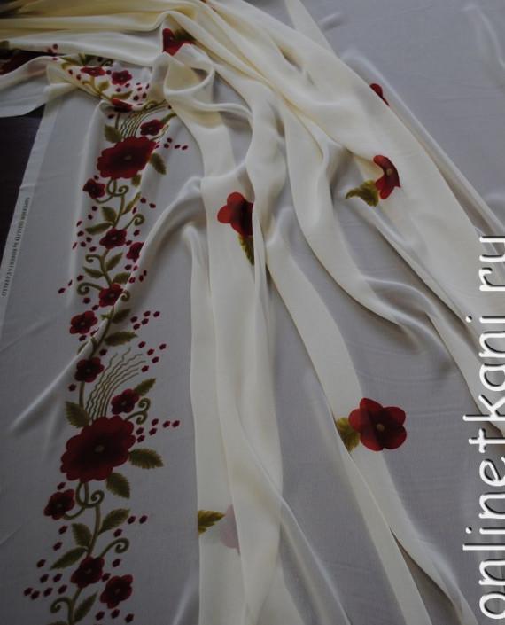 """Ткань Шифон """"Красные цветочки"""" 0012 цвет белый цветочный картинка 1"""